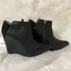 Zara Wedge Leather Ankle Boots Side Zip Suede Trim